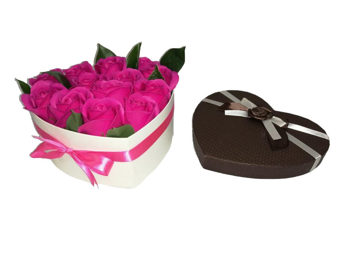 """Розы из мыла в коробке """"Сердце"""""""