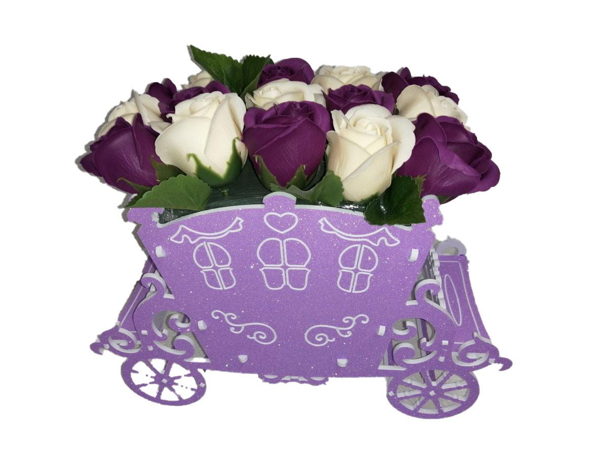 """Розы из мыла в букете """"Карета"""" сиреневый"""