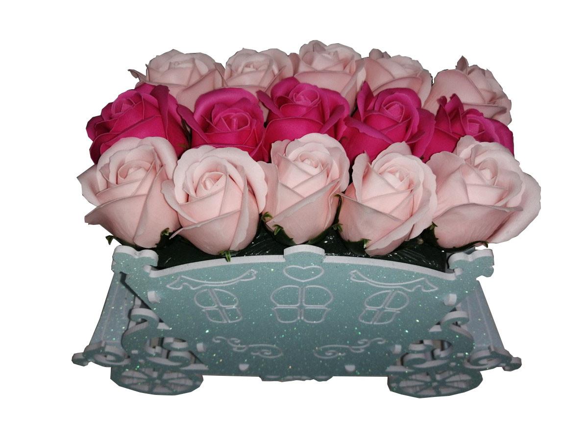 """Розы из мыла в букете """"Карета"""" голубой"""