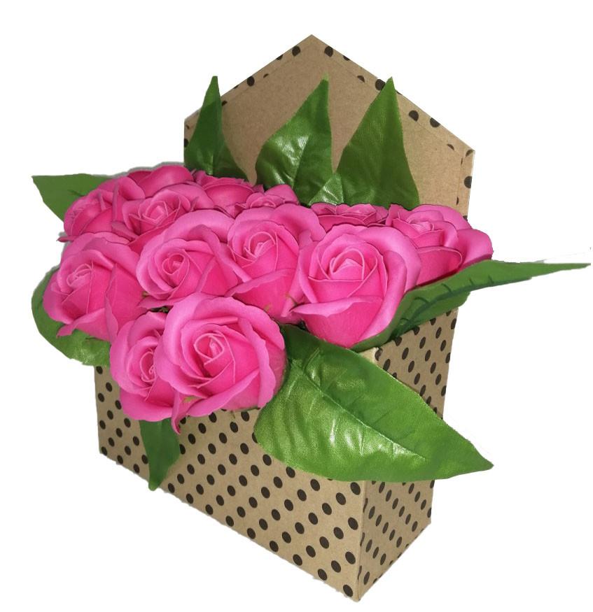 """Букет роз из мыла в коробке """"Конверт"""""""